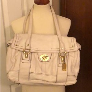 Vintage white leather Coach bag